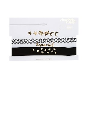 Aquarius Choker Necklaces & Earrings Set