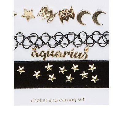 Aquarius Choker Necklaces & Earrings Set