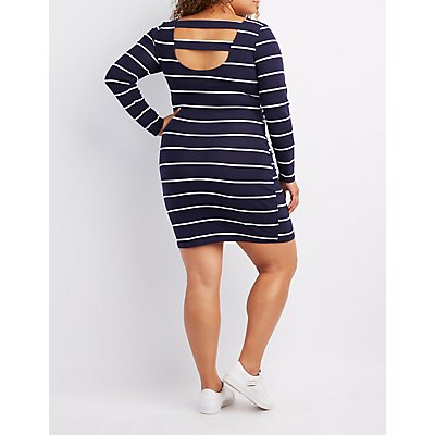 Plus Size Striped Caged-Back Bodycon Dress