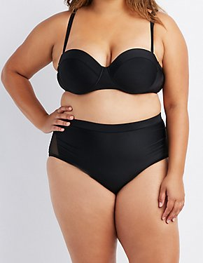 Plus Size Mesh-Trim High-Waisted Bikini Bottoms