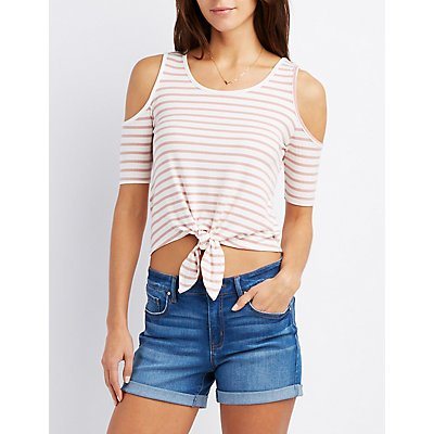 Striped Cold Shoulder Knotted Top