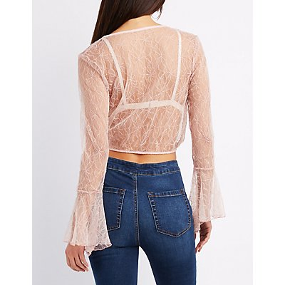 Lace Surplice Crop Top
