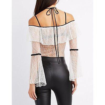 Lace Halter Off-The-Shoulder Bodysuit