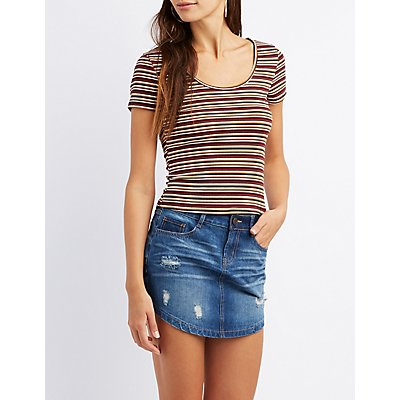 Striped Lattice-Back Skimmer Top