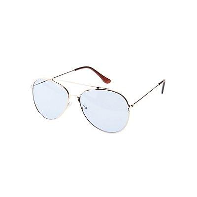 Metal Blue Aviator Sunglasses
