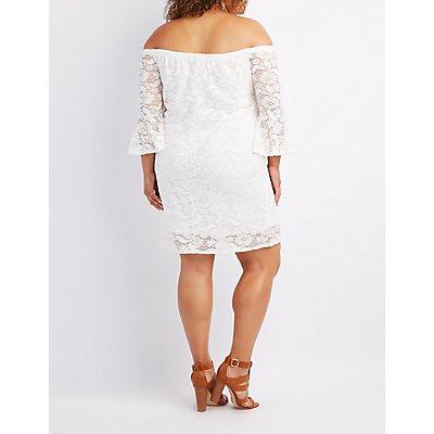 Plus Size Lace Off-The-Shoulder Shift Dress