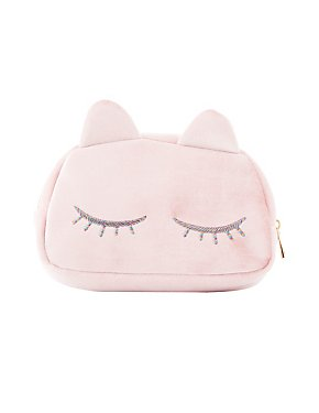Crushed Velvet Kitty Makeup Bag