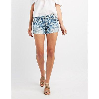 Floral Denim Cut-Off Shorts