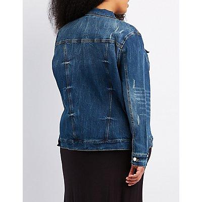 Plus Size Refuge Distressed Denim Jacket