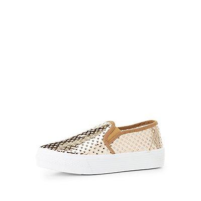 Qupid Perforated Platform Sneakers