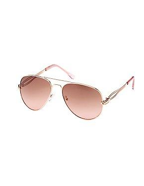 Metal Brow Bar Aviator Sunglasses