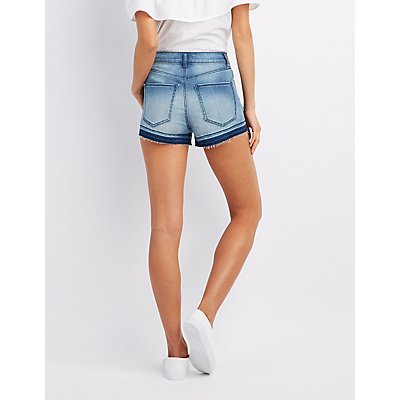 Refuge Distressed Hi-Rise Denim Shorts