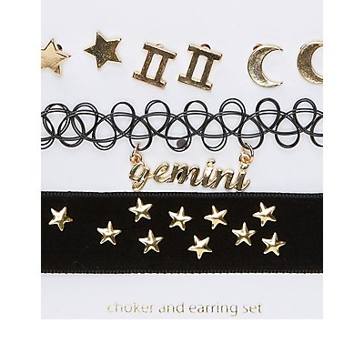 Gemini Choker Necklaces & Earrings Set