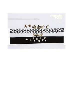 Cancer Choker Necklaces & Earrings Set