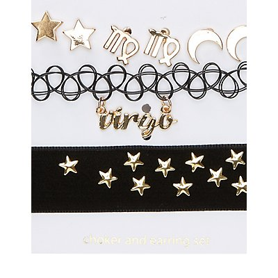 Virgo Choker Necklaces & Earrings Set