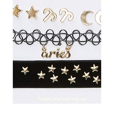 Aries Choker Necklaces & Earrings Set