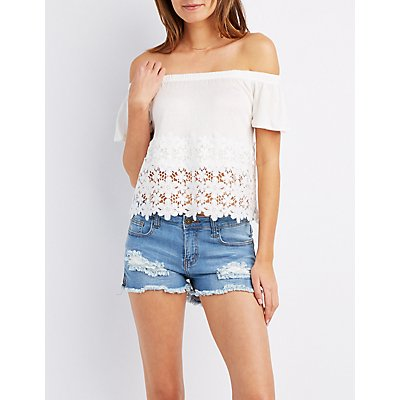 Crochet-Hem Off-The-Shoulder Top