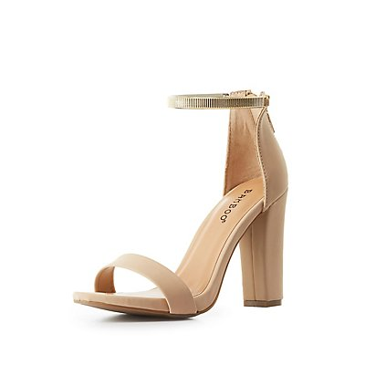 Bamboo Gold-Strap Two-Piece Sandals