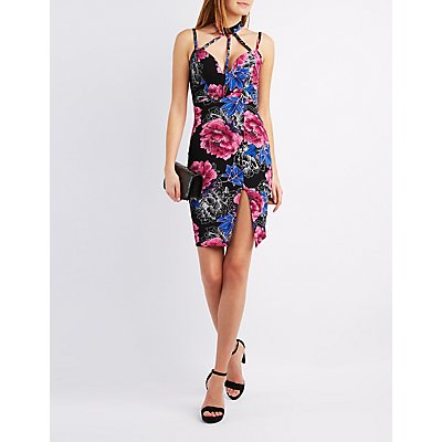 Floral Caged Mock Neck Bodycon Dress