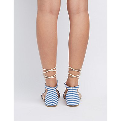 Striped Two-Piece Lace-Up Sandals