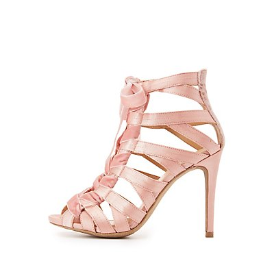Satin Caged Lace-Up Sandals