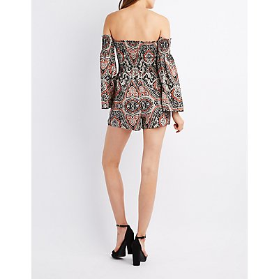 Printed Off-The-Shoulder Smocked Romper