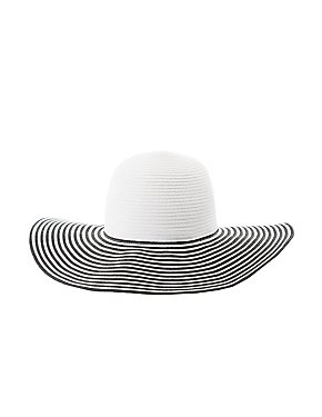 Striped Floppy Straw Hat