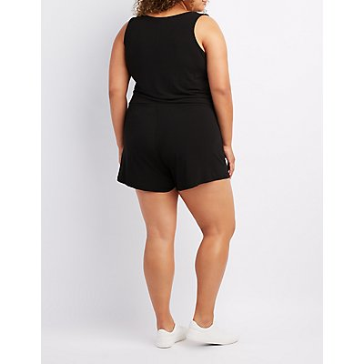Plus Size Zip-Up Sleeveless Romper