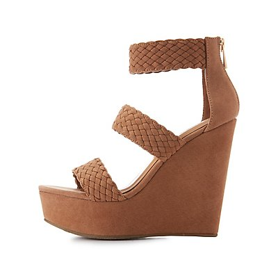 Bamboo Braided Three-Piece Wedge Sandals
