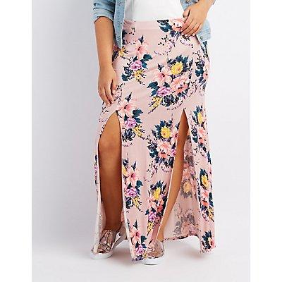 Plus Size Floral Double Slit Maxi Skirt