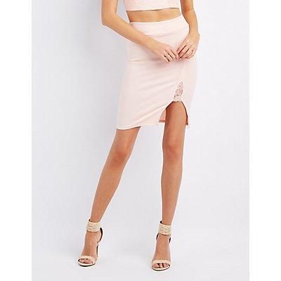 Lace-Trim Pencil Skirt