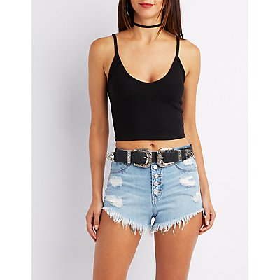 Ribbed Sleeveless Crop Top
