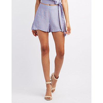 Striped Ruffle-Trim Shorts