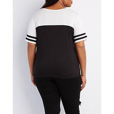 Plus Size Varsity Stripe T-Shirt