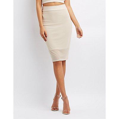 Mesh Pencil Skirt