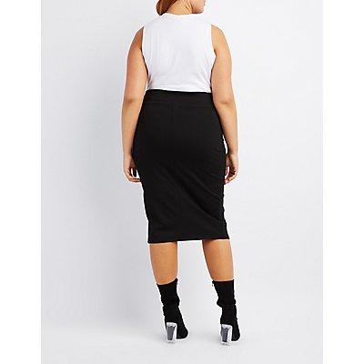 Plus Size Bodycon Midi Skirt