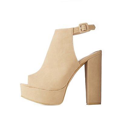 Peep Toe Slingback Platform Sandals