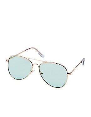 Green Lens Aviator Sunglasses