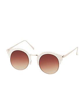 Laser Cut Round Sunglasses