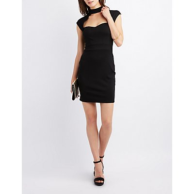 Choker Neck Cut-Out Bodycon Dress