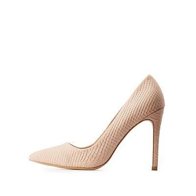 Embossed Faux Suede Pumps
