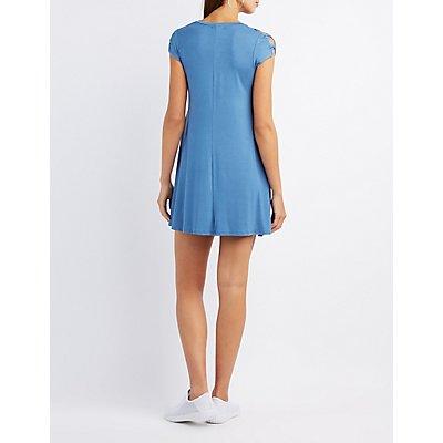Lattice-Inset Shift Dress