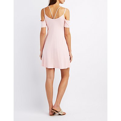Strappy Cold Shoulder Swing Dress