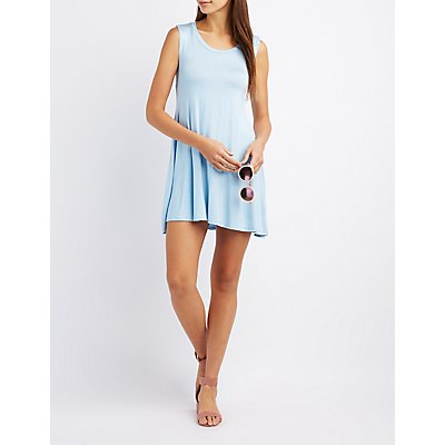 Knotted Caged-Back Shift Dress
