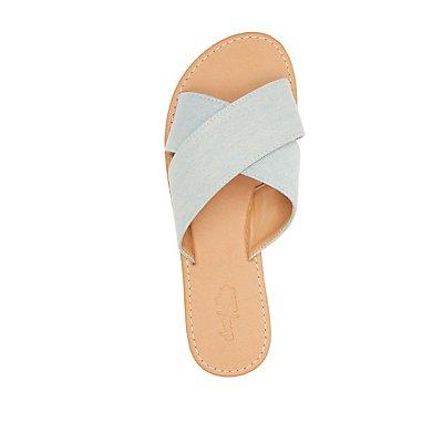 Denim Crisscross Slide Sandals