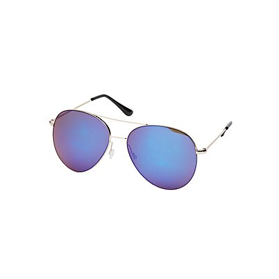 Blue Reflective Aviator Sunglasses