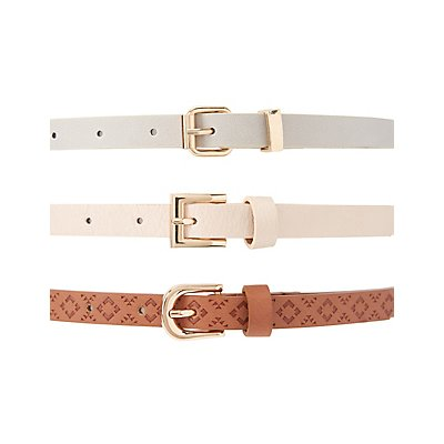 Studded & Stamped Belts - 3 Pack