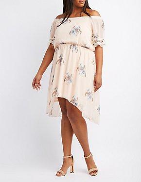 Plus Size Floral Off-The-Shoulder Crochet-Trim Dress