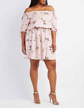 Plus Size Floral Off-The-Shoulder Skater Dress