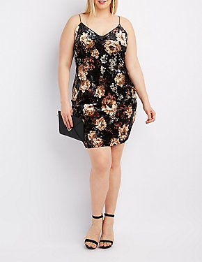Plus Size Floral Velvet Slip Dress